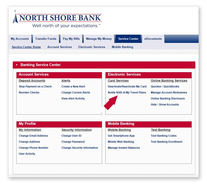 North Shore Bank - EMV Debit Card Travel Notification